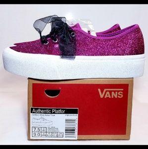 VANS Glitter Platform 2.0, Purple, Size 9